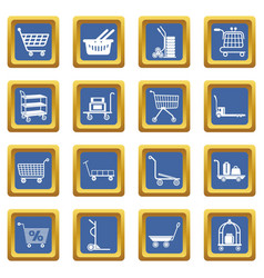 Cart types icons set blue square vector