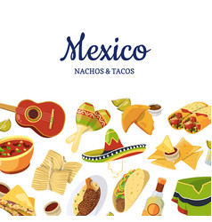 Cartoon mexican food background with place vector
