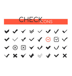 check marks icons - set web elements vector image