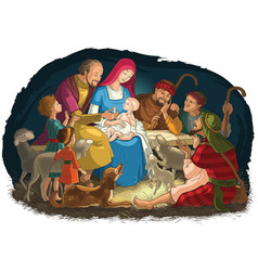 christmas nativity scene holy family and shepherds vector image