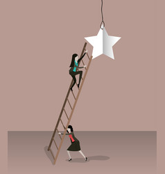 Color background with businesswoman climbing vector