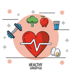 colorful poster of healthy lifestyle with heart vector image