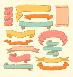 colorful set hand drawn banners vector image