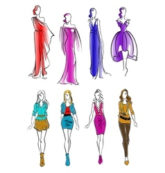 Colorful silhouettes of women in casual outfits vector image