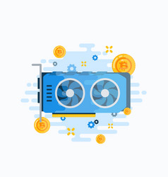 Crypto currency video card abstract sign vector