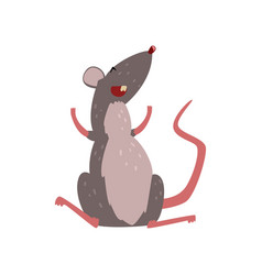 Cute grey mouse laughing happy rodent character vector