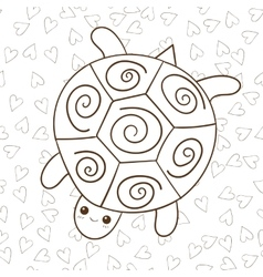 Cute turtle coloring book page vector