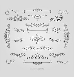 decorative floral borders set vector image