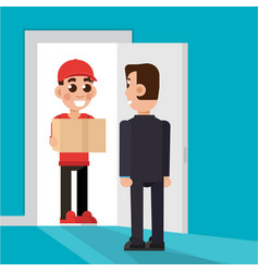 Delivery to the door delivery man character vector