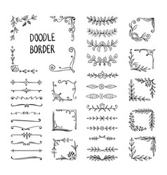 doodle border flower ornament frame hand drawn vector image