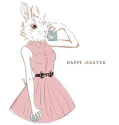 easter bunny with egg and camera selfie hipster vector image