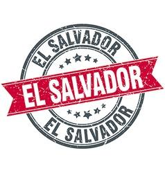 El Salvador red round grunge vintage ribbon stamp vector