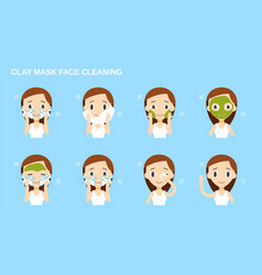 Face cleaning and care green clay mask vector