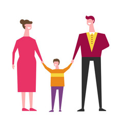 family people mother father and son vector image