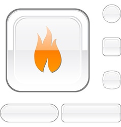 Fire white button vector