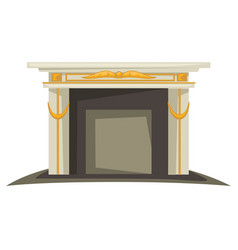Fireplace isolated interior design element gold vector