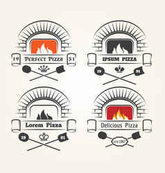 Firewood oven pizza logo vector
