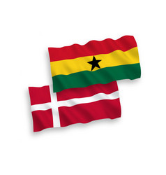 Flags denmark and ghana on a white background vector