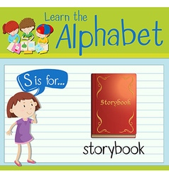 Flashcard letter S is for storybook vector image
