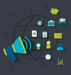 Flat icons concepts on business and finance theme vector image