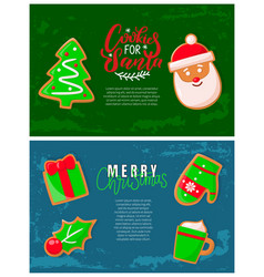 gingerbread cookies christmas holiday banners vector image