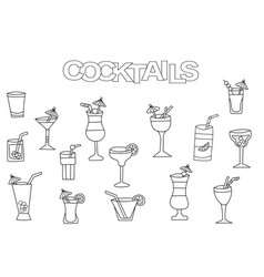 hand drawn cocktails set coloring book template vector image