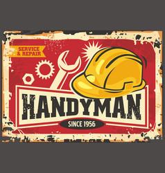 Handyman retro ad with yellow safety helmet vector