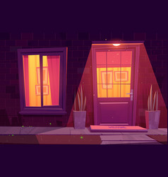 house facade with window and door at night vector image