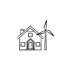 house with wind generator hand drawn icon vector image