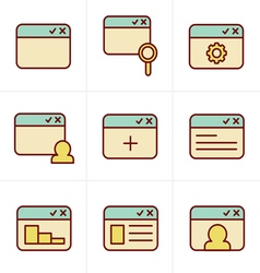 Icons Style browser icon set vector image