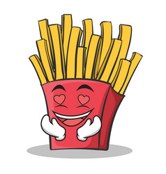 in love french fries cartoon character vector image