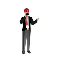 Indian bearded businessman talking on phone vector