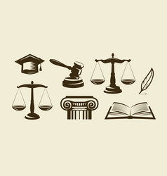 Justice set of icons lawyer advocate law symbol vector