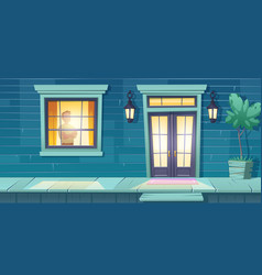 lonely man with crossed arms stand at night window vector image