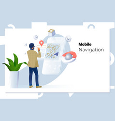 man using navigation app on mobile phone vector image