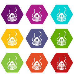 Mask protection icons set 9 vector