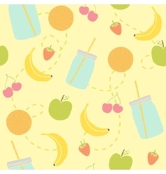 Mason jars and fruits seamless pattern vector