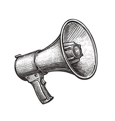megaphone bullhorn sketch hand-drawn vintage vector image