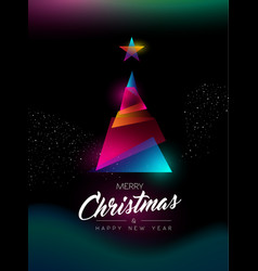 merry christmas glow gradient tree greeting card vector image