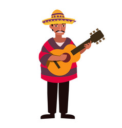 mexican men with traditional costume and play vector image
