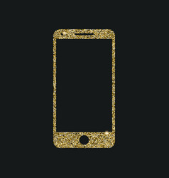 Mobile phone icon with glitter effect isolated on vector