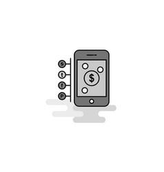 Money through smartphone web icon flat line vector