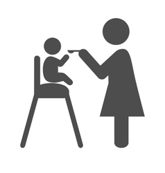 Mother feed the baby pictograph flat icon isolated vector