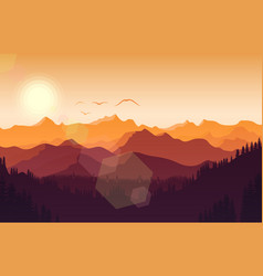 Mountains landscape with hills at sunset vector