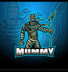 Mummy esport mascot logo design vector