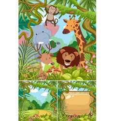 Nature scenes with wild animals in jungle vector