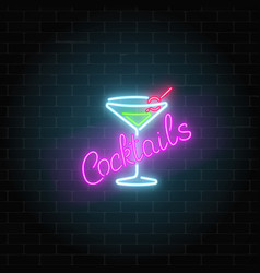 Neon cocktails bar or cafe sign on dark brick vector