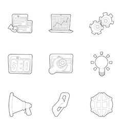 Optimization icons set outline style vector