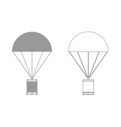 Parachute with cargo set icon vector
