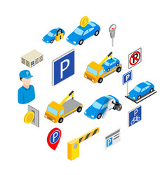 parking set icons vector image